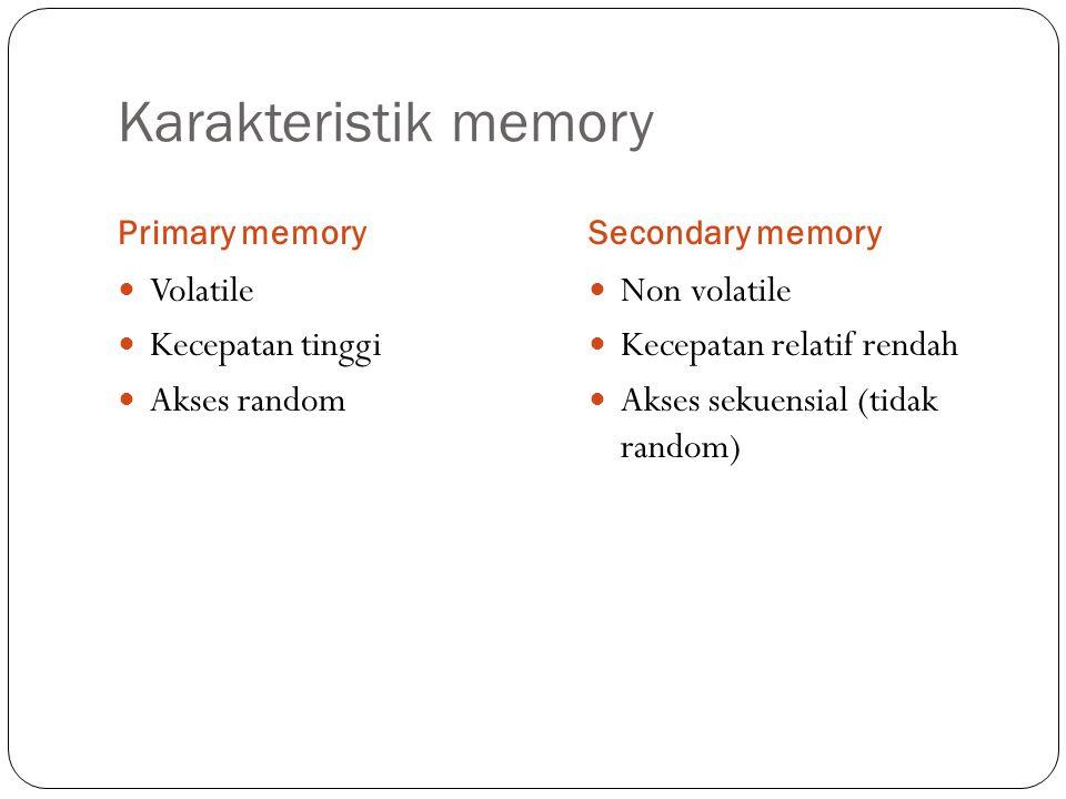 Karakteristik memory Volatile Kecepatan tinggi Akses random