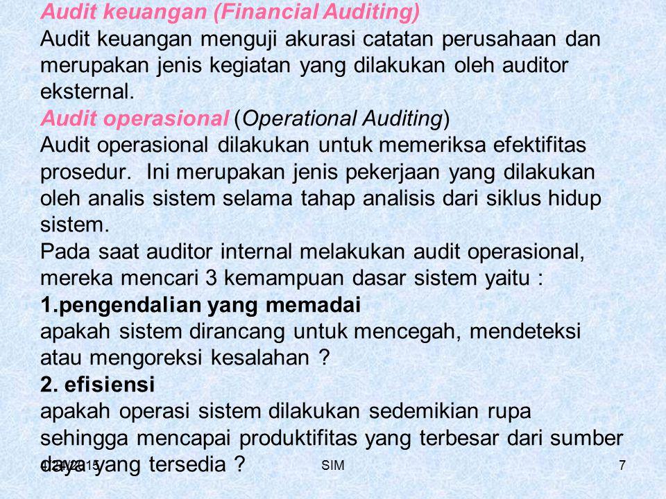 Audit keuangan (Financial Auditing) Audit keuangan menguji akurasi catatan perusahaan dan merupakan jenis kegiatan yang dilakukan oleh auditor eksternal. Audit operasional (Operational Auditing) Audit operasional dilakukan untuk memeriksa efektifitas prosedur. Ini merupakan jenis pekerjaan yang dilakukan oleh analis sistem selama tahap analisis dari siklus hidup sistem. Pada saat auditor internal melakukan audit operasional, mereka mencari 3 kemampuan dasar sistem yaitu : 1.pengendalian yang memadai apakah sistem dirancang untuk mencegah, mendeteksi atau mengoreksi kesalahan 2. efisiensi apakah operasi sistem dilakukan sedemikian rupa sehingga mencapai produktifitas yang terbesar dari sumber daya yang tersedia