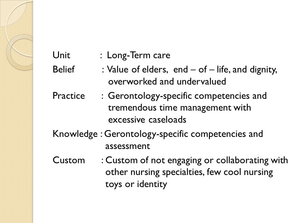 Unit : Long-Term care Belief : Value of elders, end – of – life, and dignity, overworked and undervalued Practice : Gerontology-specific competencies and tremendous time management with excessive caseloads Knowledge : Gerontology-specific competencies and assessment Custom : Custom of not engaging or collaborating with other nursing specialties, few cool nursing toys or identity