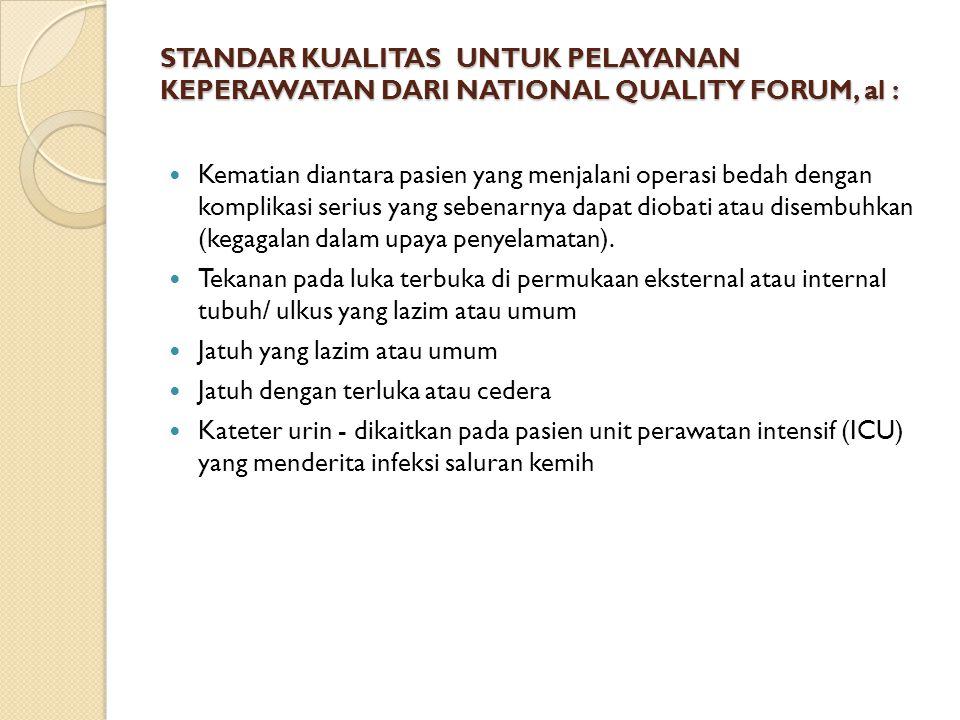 STANDAR KUALITAS UNTUK PELAYANAN KEPERAWATAN DARI NATIONAL QUALITY FORUM, al :