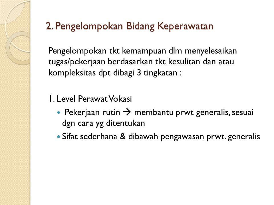 2. Pengelompokan Bidang Keperawatan