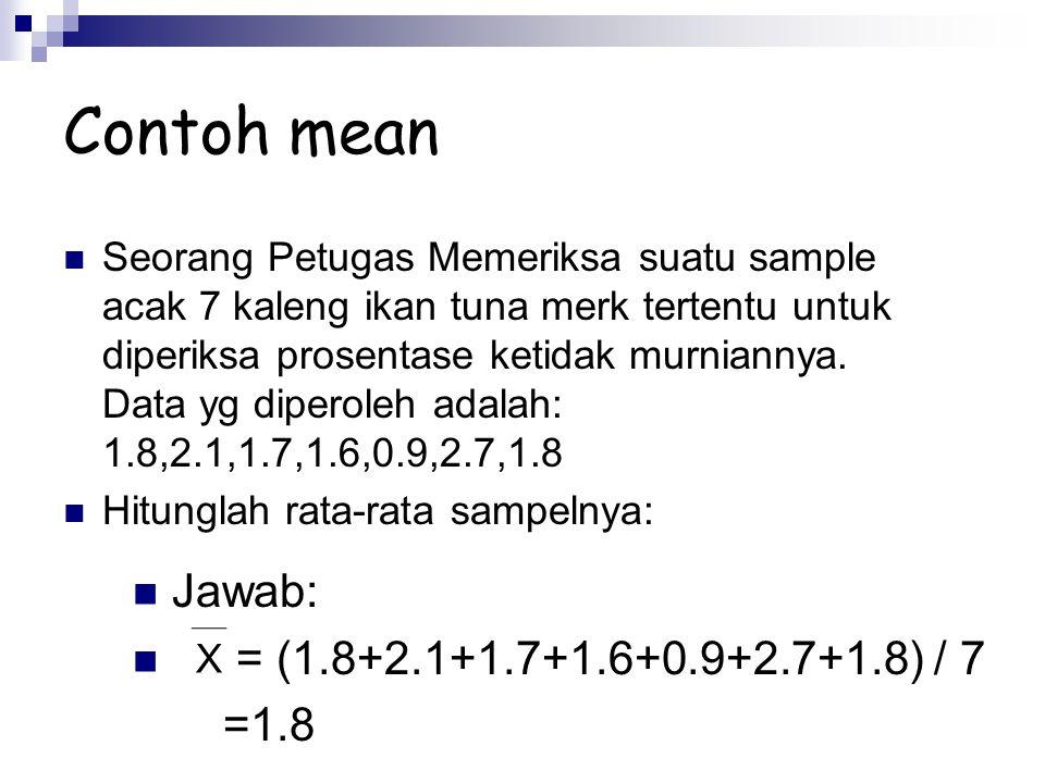 Contoh mean Jawab: = (1.8+2.1+1.7+1.6+0.9+2.7+1.8) / 7 =1.8