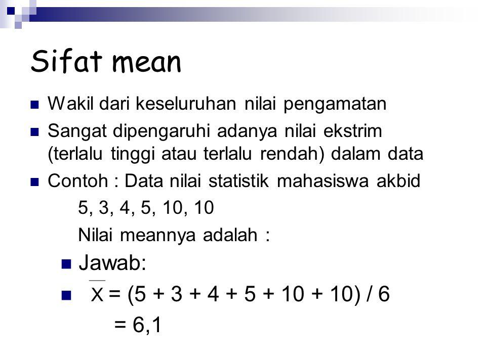 Sifat mean Jawab: = (5 + 3 + 4 + 5 + 10 + 10) / 6 = 6,1