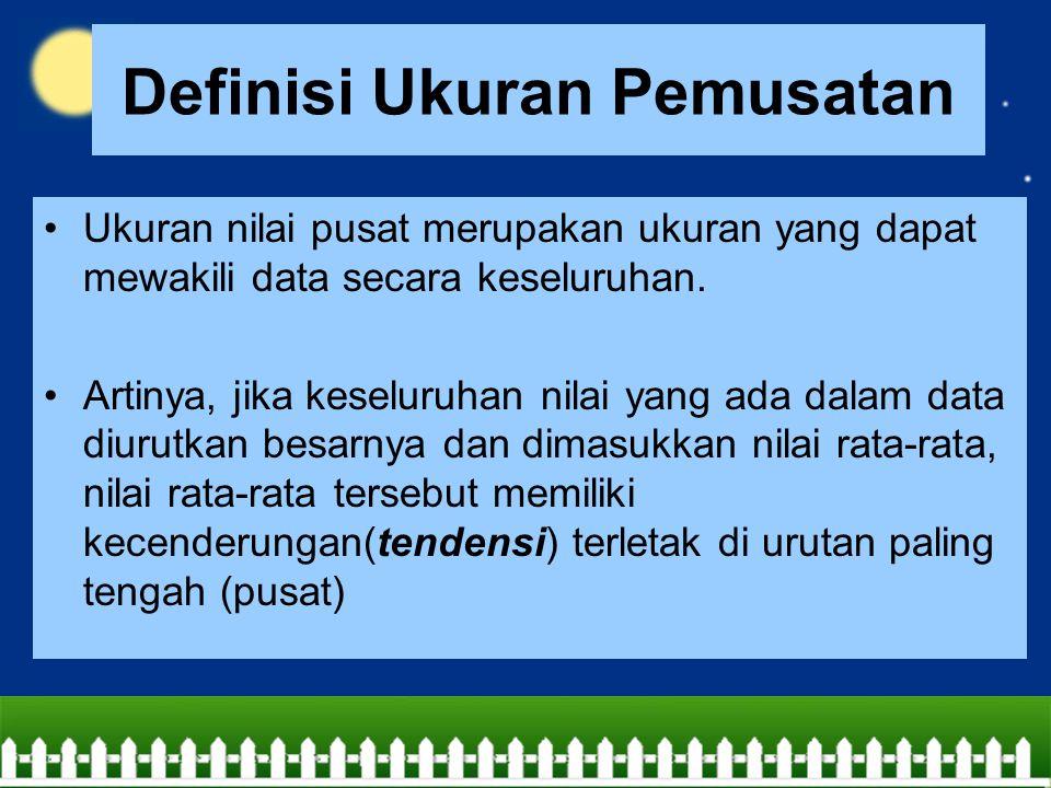 Definisi Ukuran Pemusatan