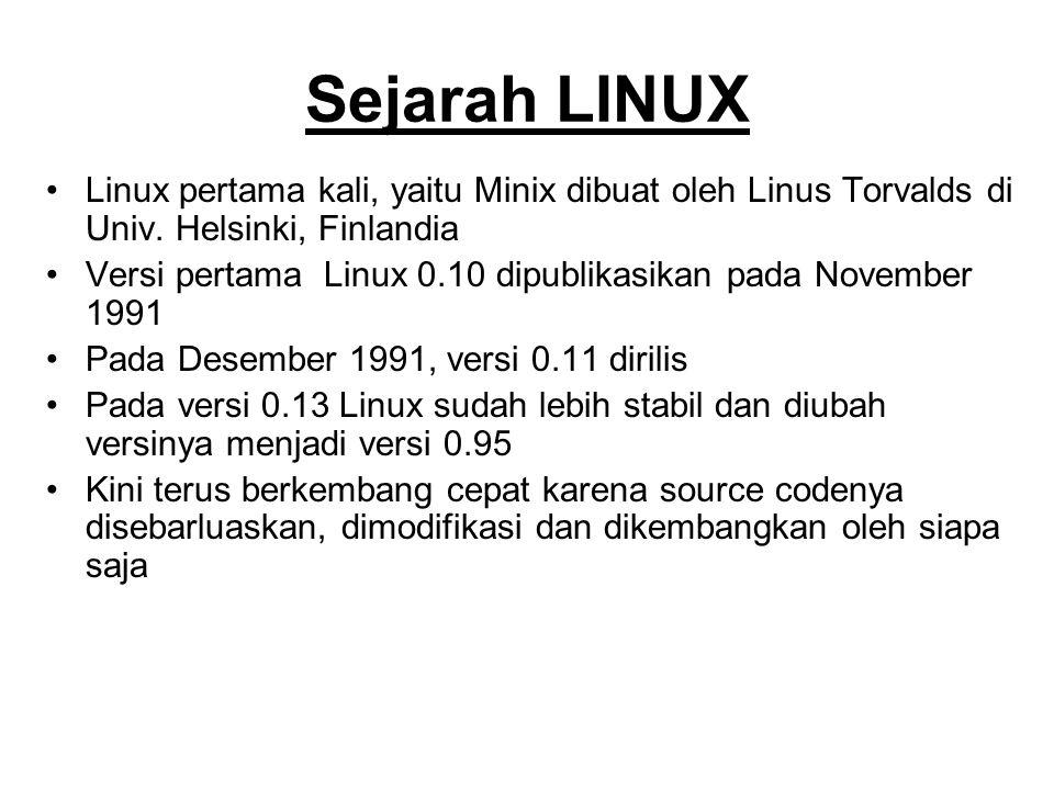 Sejarah LINUX Linux pertama kali, yaitu Minix dibuat oleh Linus Torvalds di Univ. Helsinki, Finlandia.