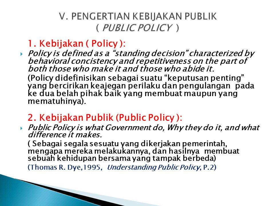 V. PENGERTIAN KEBIJAKAN PUBLIK ( PUBLIC POLICY )
