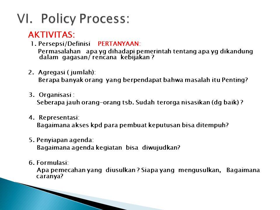 VI. Policy Process: 1. Persepsi/Definisi PERTANYAAN: