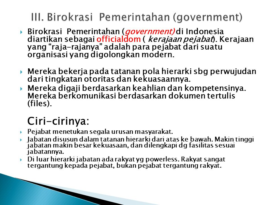 III. Birokrasi Pemerintahan (government)