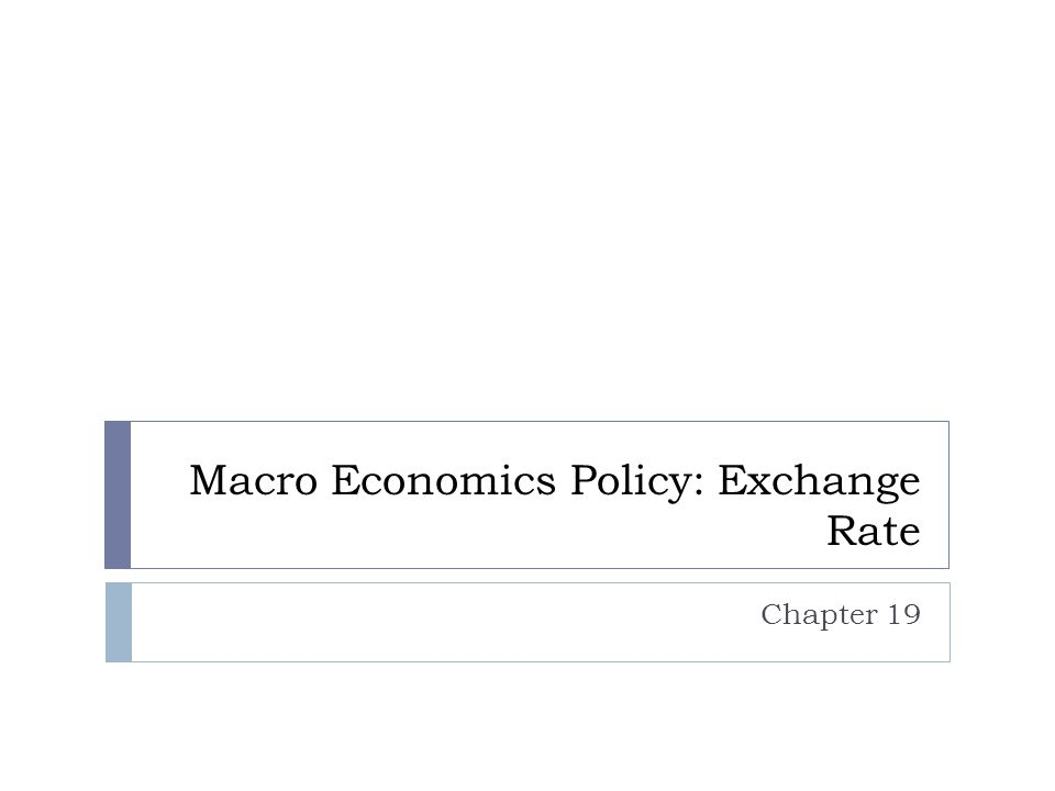 Macro Economics Policy: Exchange Rate