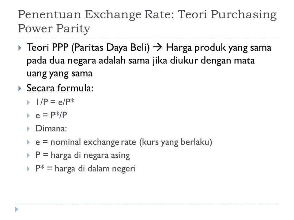 Penentuan Exchange Rate: Teori Purchasing Power Parity