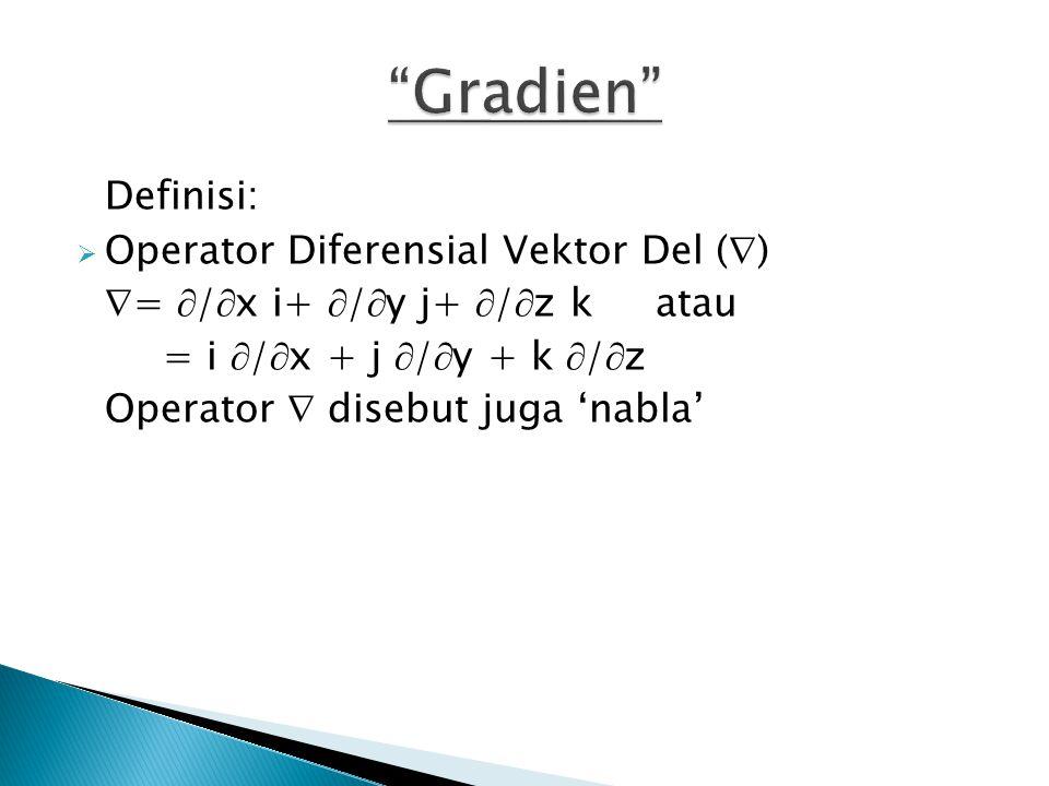 Gradien Definisi: Operator Diferensial Vektor Del ()