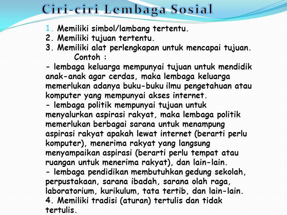 Ciri-ciri Lembaga Sosial