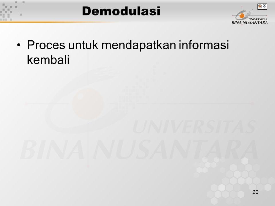 Demodulasi Proces untuk mendapatkan informasi kembali