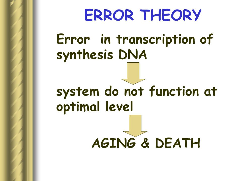 ERROR THEORY Error in transcription of synthesis DNA