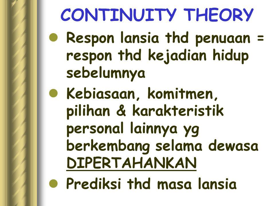CONTINUITY THEORY Respon lansia thd penuaan = respon thd kejadian hidup sebelumnya.