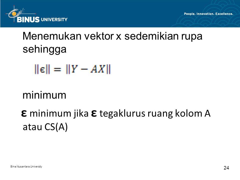 Menemukan vektor x sedemikian rupa sehingga minimum ε minimum jika ε tegaklurus ruang kolom A atau CS(A)