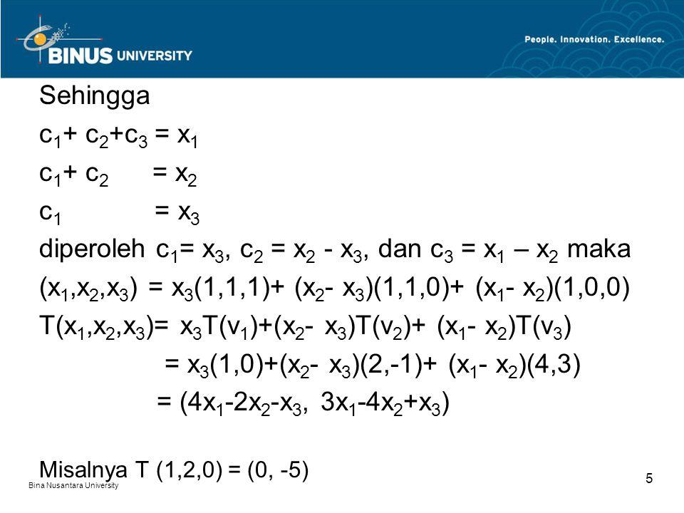 diperoleh c1= x3, c2 = x2 - x3, dan c3 = x1 – x2 maka