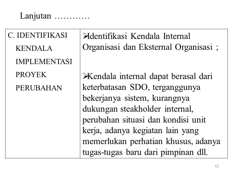 Identifikasi Kendala Internal Organisasi dan Eksternal Organisasi ;