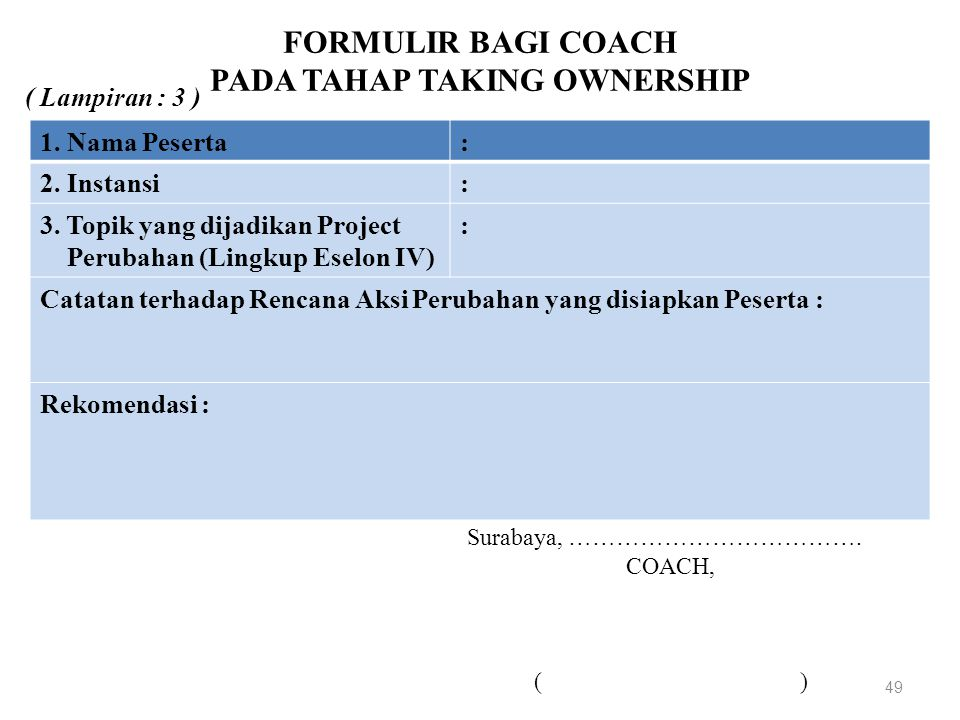 FORMULIR BAGI COACH PADA TAHAP TAKING OWNERSHIP