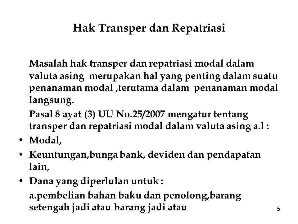 Hak Transper dan Repatriasi