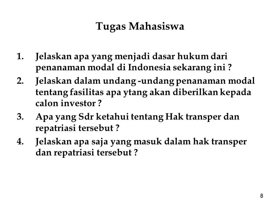 Tugas Mahasiswa Jelaskan apa yang menjadi dasar hukum dari penanaman modal di Indonesia sekarang ini