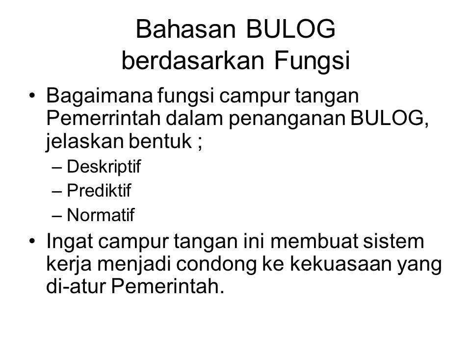 Bahasan BULOG berdasarkan Fungsi