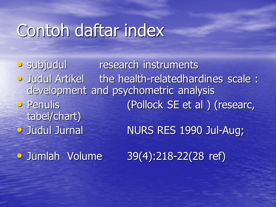 Contoh daftar index subjudul research instruments
