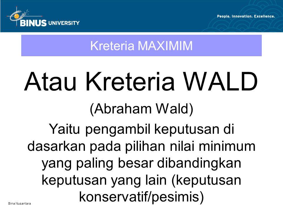 Atau Kreteria WALD (Abraham Wald)