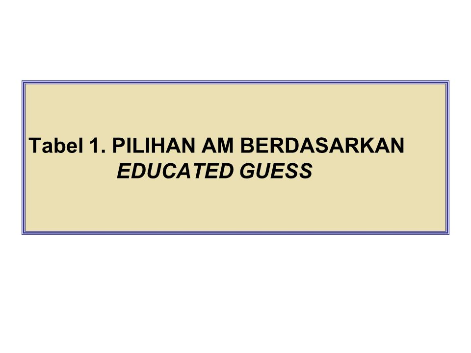 Tabel 1. PILIHAN AM BERDASARKAN EDUCATED GUESS