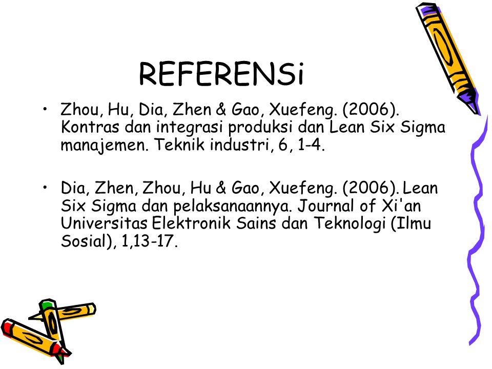 REFERENSi Zhou, Hu, Dia, Zhen & Gao, Xuefeng. (2006). Kontras dan integrasi produksi dan Lean Six Sigma manajemen. Teknik industri, 6, 1-4.
