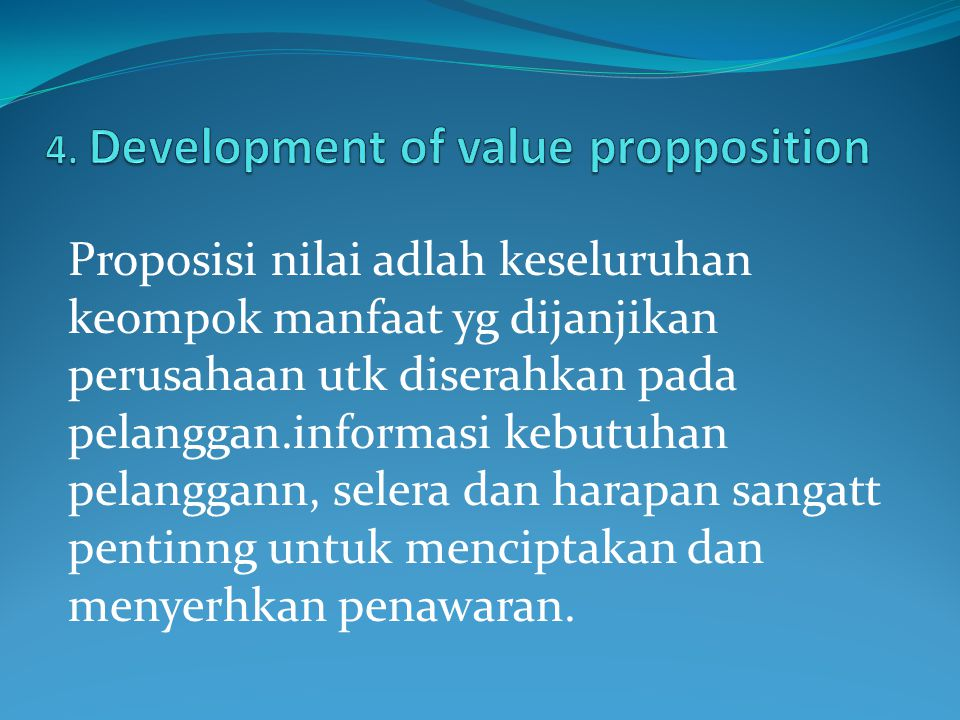 4. Development of value propposition