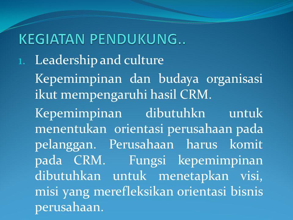 KEGIATAN PENDUKUNG.. Leadership and culture