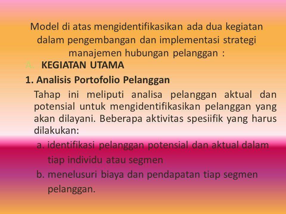 Model di atas mengidentifikasikan ada dua kegiatan dalam pengembangan dan implementasi strategi manajemen hubungan pelanggan :