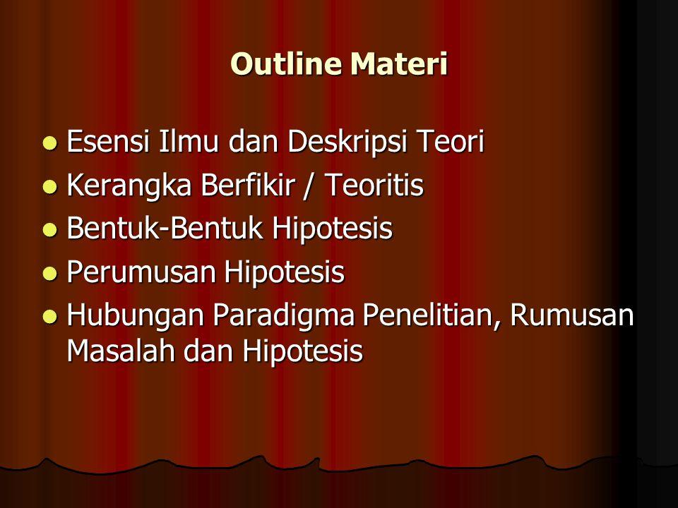 Outline Materi Esensi Ilmu dan Deskripsi Teori. Kerangka Berfikir / Teoritis. Bentuk-Bentuk Hipotesis.