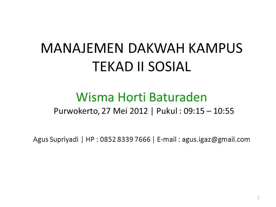 MANAJEMEN DAKWAH KAMPUS TEKAD II SOSIAL Wisma Horti Baturaden Purwokerto, 27 Mei 2012 | Pukul : 09:15 – 10:55 Agus Supriyadi | HP : 0852 8339 7666 | E-mail : agus.igaz@gmail.com