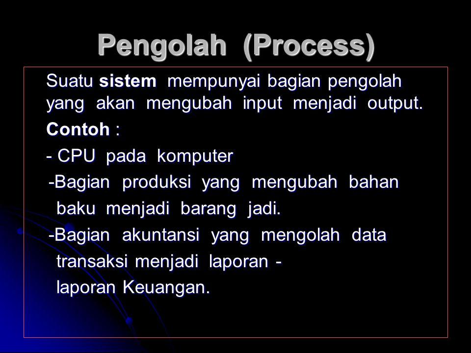 Pengolah (Process) Suatu sistem mempunyai bagian pengolah yang akan mengubah input menjadi output.