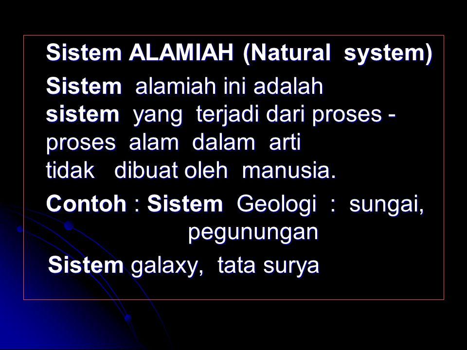 Contoh : Sistem Geologi : sungai, pegunungan Sistem galaxy, tata surya