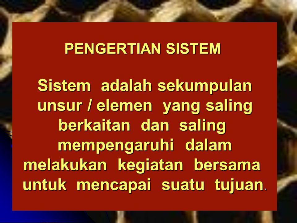 PENGERTIAN SISTEM Sistem adalah sekumpulan unsur / elemen yang saling berkaitan dan saling mempengaruhi dalam melakukan kegiatan bersama untuk mencapai suatu tujuan.