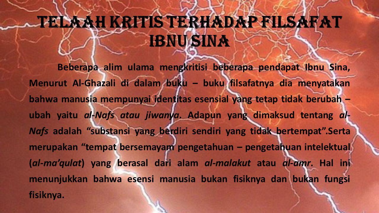 Telaah kritis Terhadap Filsafat Ibnu Sina