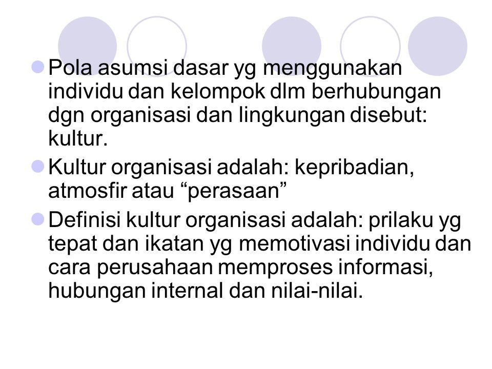 Pola asumsi dasar yg menggunakan individu dan kelompok dlm berhubungan dgn organisasi dan lingkungan disebut: kultur.