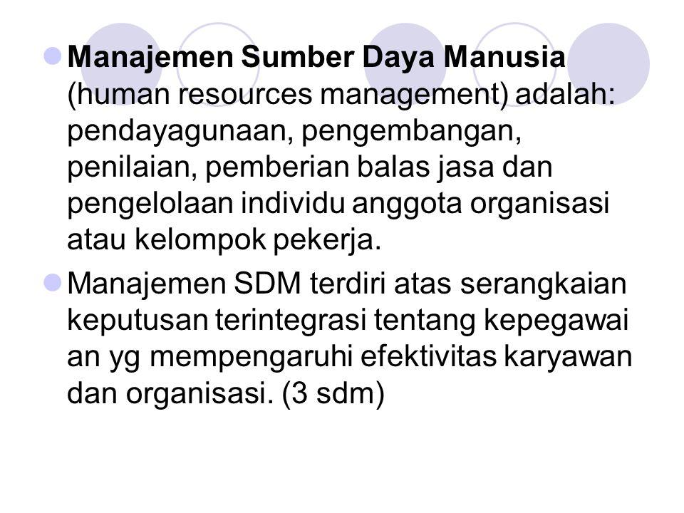 Manajemen Sumber Daya Manusia (human resources management) adalah: pendayagunaan, pengembangan, penilaian, pemberian balas jasa dan pengelolaan individu anggota organisasi atau kelompok pekerja.