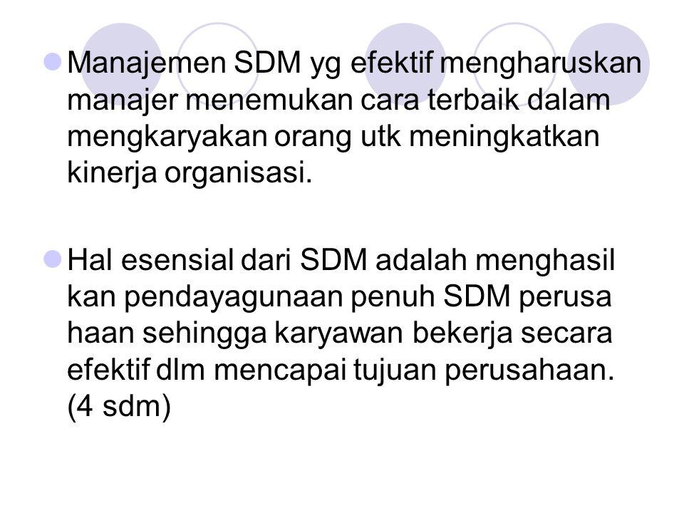 Manajemen SDM yg efektif mengharuskan manajer menemukan cara terbaik dalam mengkaryakan orang utk meningkatkan kinerja organisasi.