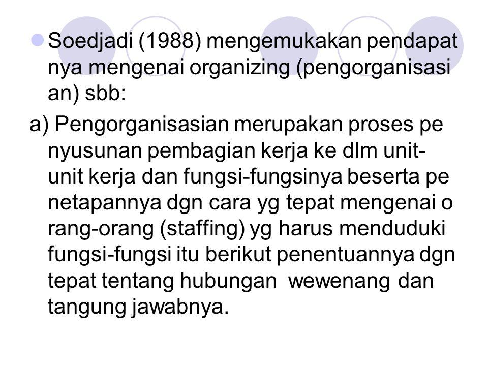 Soedjadi (1988) mengemukakan pendapat nya mengenai organizing (pengorganisasi an) sbb: