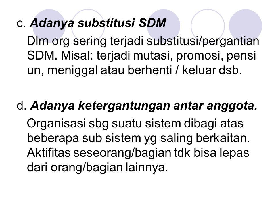 c. Adanya substitusi SDM