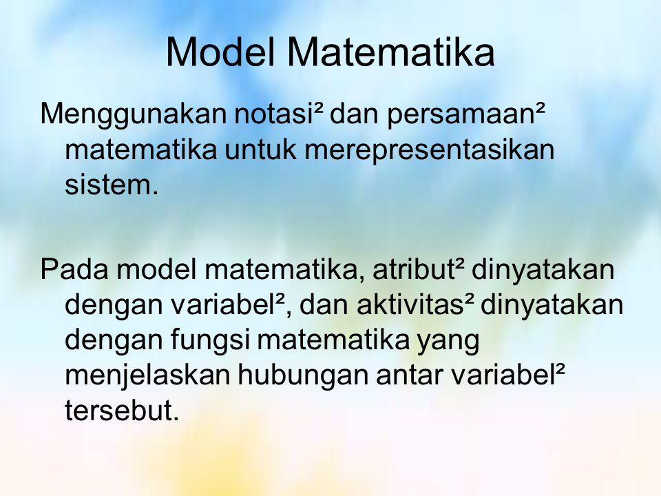Model Matematika Menggunakan notasi² dan persamaan² matematika untuk merepresentasikan sistem.