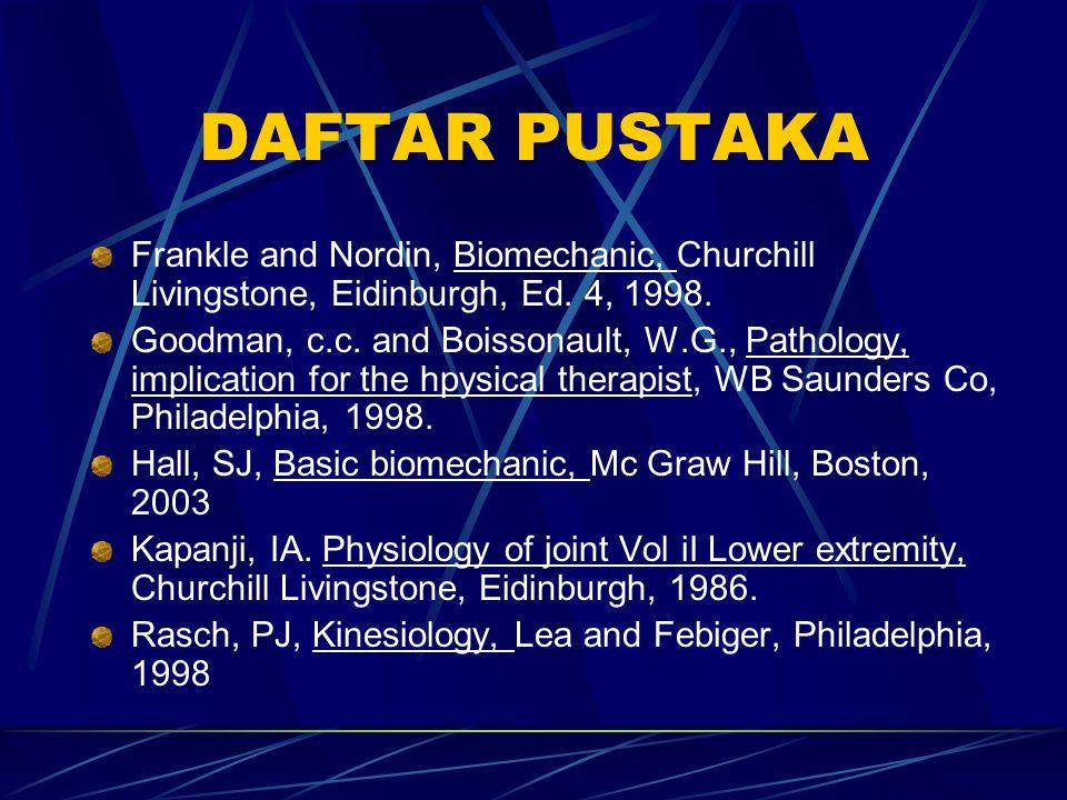 DAFTAR PUSTAKA Frankle and Nordin, Biomechanic, Churchill Livingstone, Eidinburgh, Ed. 4, 1998.