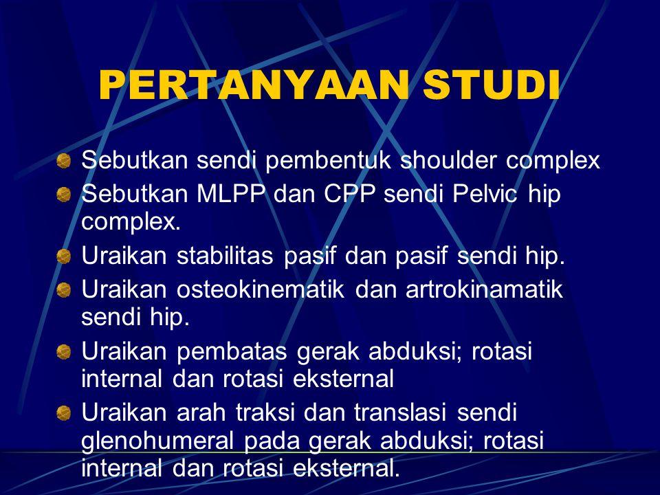 PERTANYAAN STUDI Sebutkan sendi pembentuk shoulder complex