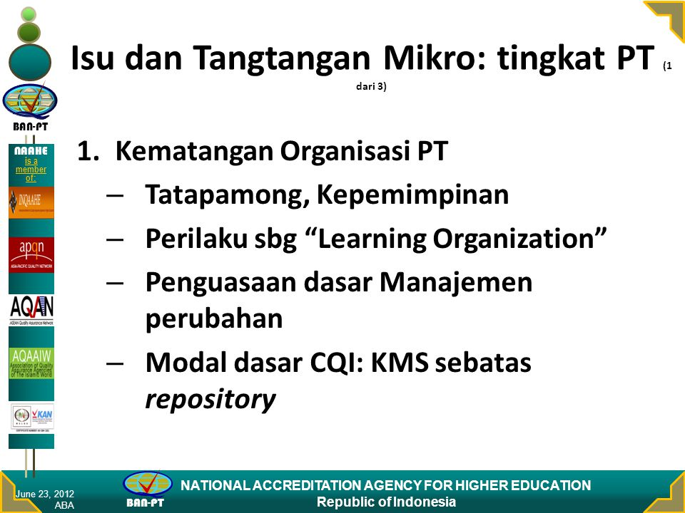 Isu dan Tangtangan Mikro: tingkat PT (1 dari 3)