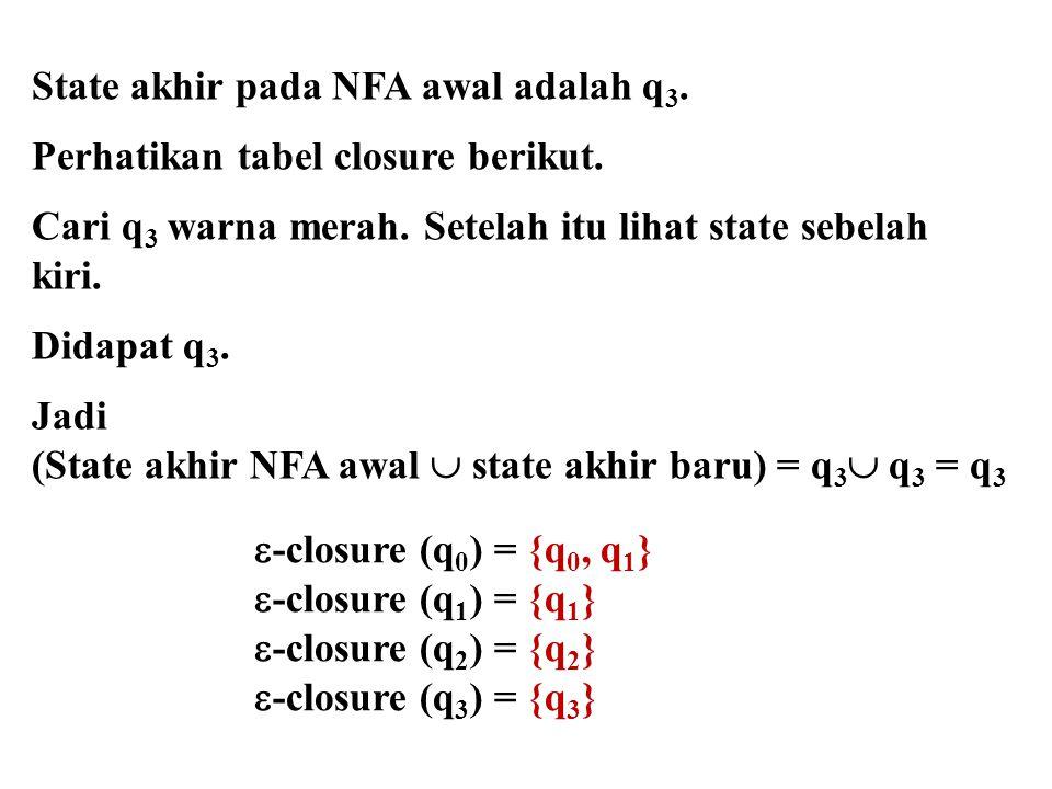 State akhir pada NFA awal adalah q3.