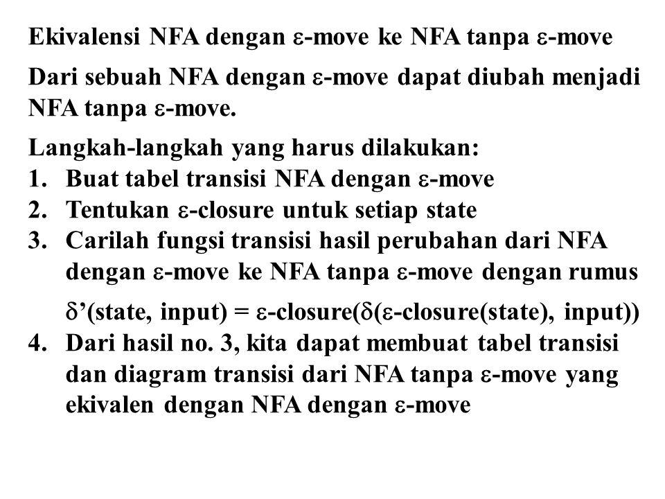 Ekivalensi NFA dengan -move ke NFA tanpa -move